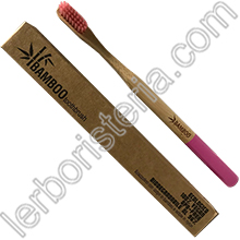 Bamboo Toothbrush Spazzolino da Denti EcoBio in Bamboo Medium Rosa